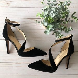 Jessica Simpson Suede D'orsay Strappy heels black